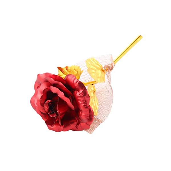 24k Gold Roses Bouquet, Gold Plated Rose 24k Gold Dipped Rose, Forever Gifts for Her Valentine's Day Anniversary Wedding Mothers Day Birthday Gift and Proposal-Gold, Red by W