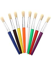Ktoyols Colorful Paint Brushes Set Hog Bristle Hair Chubby Plastic Handle Paintbrush Easy to Clean Art Supplies Gift for Children Adults Drawing Painting