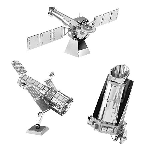 Fascinations Metal Earth 3D Metal Model Kits Space Set of 3 Hubble Telescope - Kepler Spacecraft - Chandra X-Ray Observatory