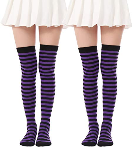 Women's Over Knee Long Sock Striped Thigh High Socks Girl Long Knitting Socks Cute Cosplay Stockings(2 Pairs Purple Black socks)
