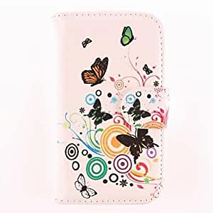 DUR Colorful Butterfly Pattern PU Leather Soft Case with Card Slot and Stand for Samsung Trend Duos S7562