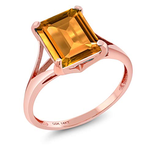 14k Yellow Gold Citrine Ring - 2.90 Ct Emerald Cut Yellow Citrine 14K Rose Gold Women's Solitaire Ring (Size 7)