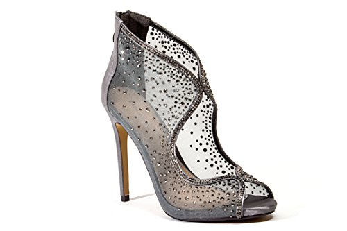 LADY COUTURE WOMEN SHOES 4 1/2 INCH HEEL MESH BOOTIE AND EMBLISHED PEWTER 38 by Lady Couture