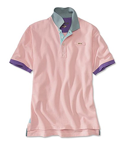 Orvis Men's Signature Polo Contrast-Trim Shirt, Pale Pink, X Large