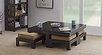 Mp Wood Solid Wooden Coffee Center Table With 4 Stools Amazonin