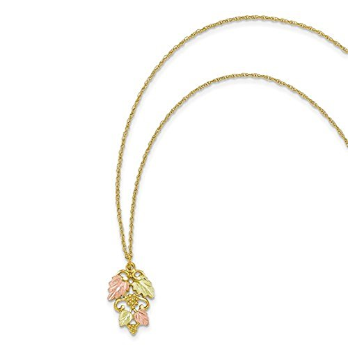 10K Tri-Color Gold Black Hills Gold Flowers and Leaf Pendant, (Leaf Tri Color Gold Pendant)