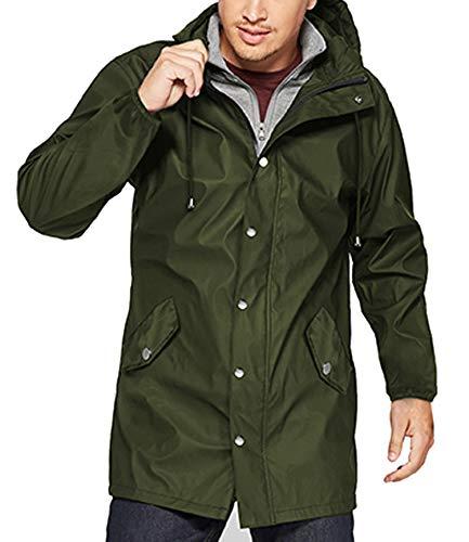 (URRU Men's Lightweight Waterproof Rain Jacket Packable Hooded Long Windbreaker Jackets Army Green M)