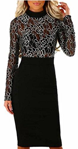 Womens Bodycon Midi Dress Black Patchwork Lace Jaycargogo Sleeves Long Sexy d1Rdwq