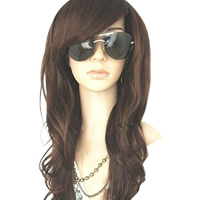 MelodySusie Black Mid-length Straight Wig for Black Women - Synthetic Wigs With Flat Bangs Natural As Real Hair Heat Resistance Adjustable Size Cosplay Daily Party Wig With Free Wig Cap (Black)