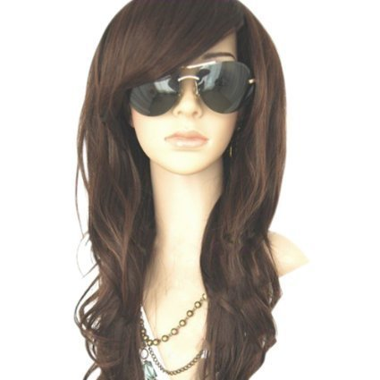 """MelodySusie Dark Brown Curly Wig - 34""""Curly Wig with Inclined Bangs Synthetic Cosplay Daily Party Wig for Women Natural as Real Hair (Dark Brown)"""