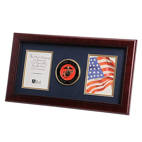 Allied Frame US Marine Corps Medallion Double Picture Frame - Two 4 x 6 Photo Openings