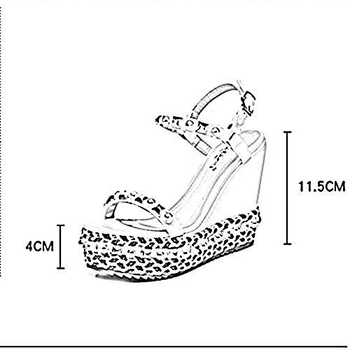 11 5CM spesso Boemia ZHIRONG da CN36 da dimensioni spiaggia donna tessuto Bianca Colore scarpe UK4 EU36 vintage impermeabile Estate Toe piattaforma Sandali Open Bianca fondo rivetto cunei 7Hqr76wU