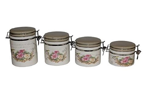 Set of 4 Air-tight Kitchen Storage Containers Pink and Yellow Roses (Set Rose Canister)