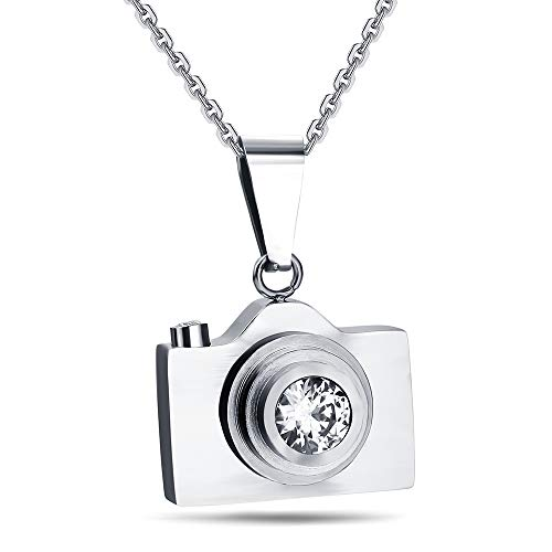 ATDMEI Camera Pendant Necklace Stainless Steel for Men Women Vintge Gothic Jewelry - Necklace Camera Pendant