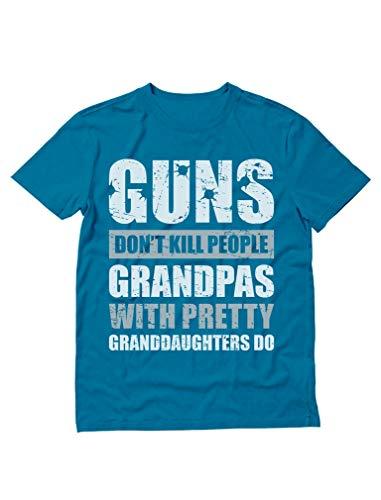 Guns Don't Kill Grandpas with Pretty Granddaughters Do Grandpa, Papa T-Shirt XX-Large Aqua