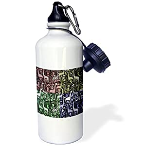 3dRose Florene Decorative III - Image of Giraffe Collage In Four Colors With White Hearts - 21 oz Sports Water Bottle (wb_243550_1)