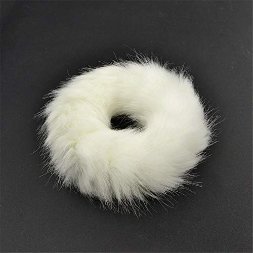 Faux Rabbit Fur Leopard Fluffy Elastic Scrunchie Hair Rope Ring Ponytail Holder (Color - B-white)