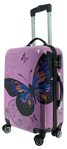 41p241wzeOL - Maletín Mariposas Rosa Tamaño M Carbon/Carcasa Rígida de Policarbonato Viaje Maleta Case FA. bowatex
