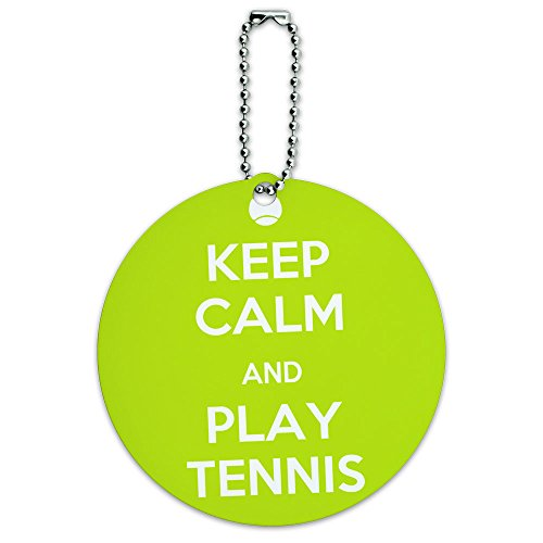 Keep Calm And Play Tennis Sports Round Luggage ID Tag Card Suitcase Carry-On