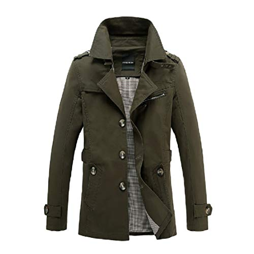 EnergyMen Solid Solid Washed Quilted Jacket Turn-Down Collar Dust Coat Green