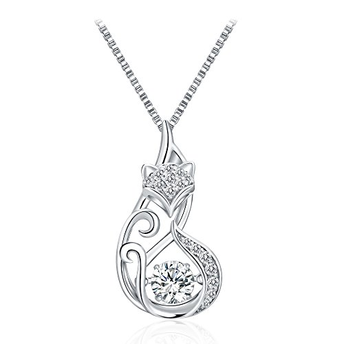 Radiant Cut Diamond Settings - T400 925 Sterling Silver Dancing Diamond Stone Cubic Zirconia from Swarovski Cat Fox Swan Pendant Necklace Birthday Gift for Women