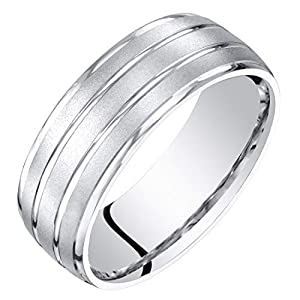 Mens 14K White Gold Wedding Ring Band 7mm Satin Finish Comfort Fit Sizes 8 to 14
