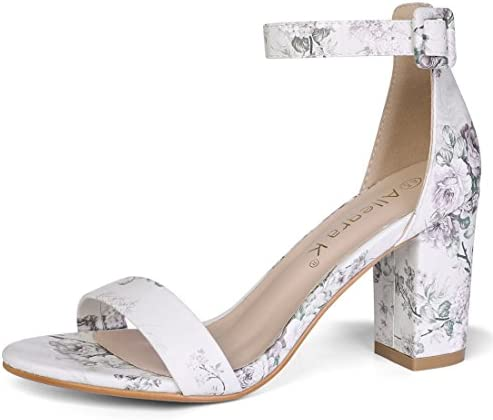 Allegra K Women's Floral Ankle Strap Block Heel Light Grey