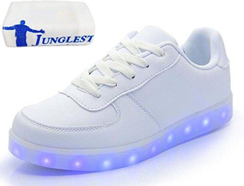 (Present:kleines Handtuch)JUNGLEST 7 Farbe USB Aufladen LED Leuchtend Sport Schuhe Sportschuhe Sneaker Turnschuhe für Unisex Erwach Weiß