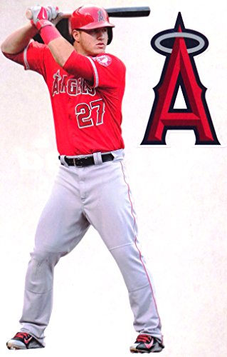 FATHEAD Mike Trout Mini Los Angeles Angels Logo Official MLB Vinyl Wall Graphics 7