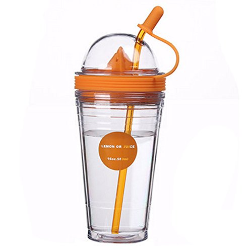 Lemon juice cup lid, Double plastic cups, Straw cup juice, Green.