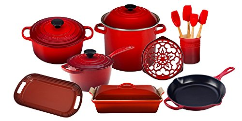 Pot Essentials Cooks (Le Creuset 16-Piece Cook's Essentials Set Cerise)