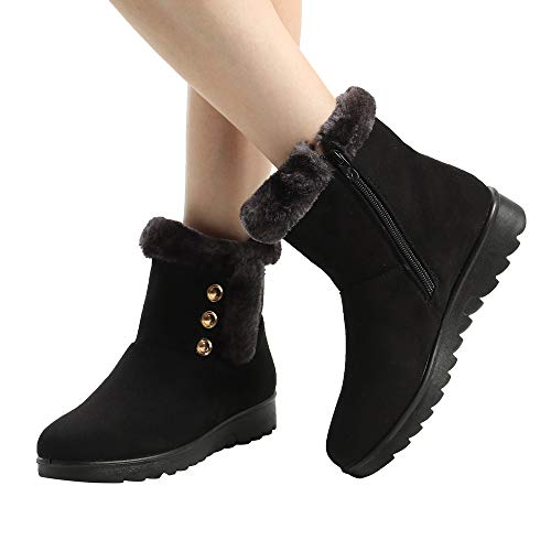 s for Women, Ladies Winter Ankle Short Boots Fur Footwear Warm Plush Shoes ()