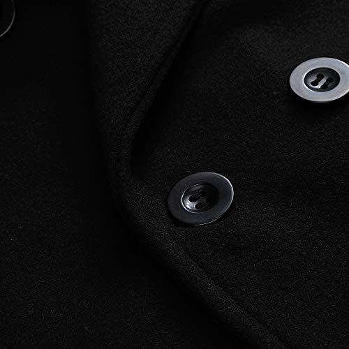 Outerwear Dress Coats Wool Double Button Fit Overcoat Winter Pea Coat Peacoat Slim Outwear Smart Row Dikewang Breasted Long Men's Black Mens Collar Jackets Jacket Warm Blend Trench xYEq1wwB