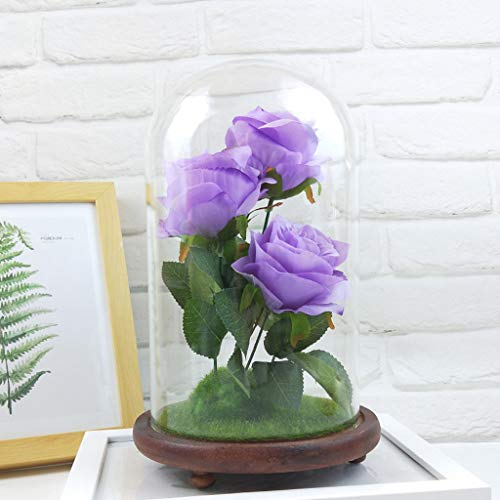 - Eoeth Romantic Immortal Flower Micro Landscape Rose Simulation Glass Shade Led Llights Glass Cover Micro Landscape Home Accessories Ornaments Large Models(Shipped by US) Free Post