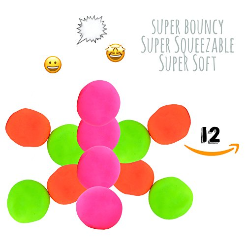 Stress Ball For Kids: Squishy Stretch Balls [12 pack] Pull and Stretch (Green, Orange and Pink) Stress Relief Balls. [Mold it, Squeeze it, Stretch it, Smoosh it] Bouncy Squeezable and Soft. (Squeezable Balls)