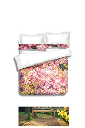 (MTSJTliangwan Duvet Cover Set Garden Bench Under The Pink Sakura Blur Style 3 Piece Bedding Set with Pillow Shams, Queen/Full, Dark Orange White Teal Coral)