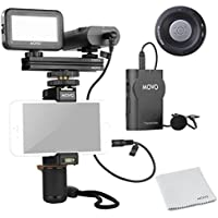 Movo Smartphone Video Kit V2 with Grip Rig, Wireless Lavalier Microphone, LED Light & Wireless Remote - for iPhone 5, 5C, 5S, 6, 6S, 7, 8, X (Regular and Plus), Samsung Galaxy, Note & More