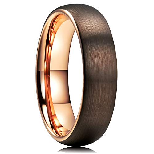 King Will Duo 6mm Dome Brown Tungsten Carbide Wedding Band Ring Rose Gold Inside Comfort Fit -