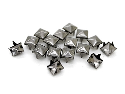 CRAFTMEmore 200pcs 5MM 7MM Pyramid Studs Spot Nailheads 4 Prongs Square DIY Spike for Shoes Cloth Punk Accessories (5 MM, Gunmetal)