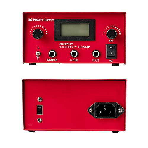 One Tattoo World Dual Digital LCD Tattoo Machine Power Supply | LCD Display | Stainless Steel Pedal & 2 Clip Cords | Red