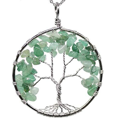 Tree of Life Natural Aventurine Gemstone Pendant Necklace Healing Crystals Chakra Gem Stone 26 inch Great Gift GGP9-5