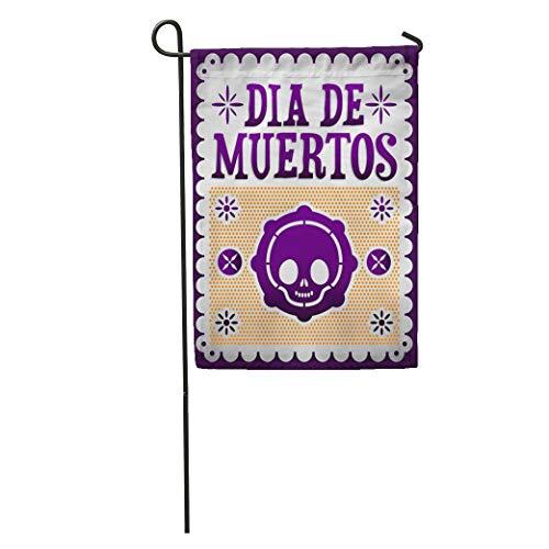 Semtomn Garden Flag Dead Dia De Muertos Mexican Day of The Death Spanish Home Yard Decor Barnner Outdoor Stand 28x40 Inches Flag
