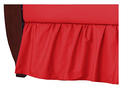 TL Care 100% Natural Cotton Percale Crib Bed Skirt, Red, Soft Breathable, for Boys and Girls (Red Ruffle Crib Skirt)