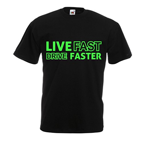 lepni.me N4449 T Shirts For Men Live Fast Drive Faster (X-Large Black - Racing For Men Jackets Drag