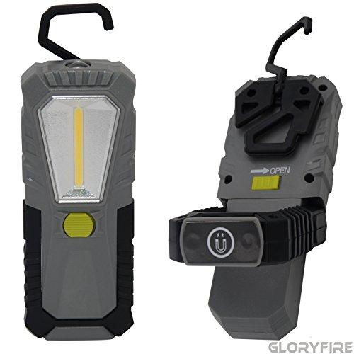- GLORYFIRE LED Work Light 5 Modes 230 Lumens Multiuse COB Flashlight Magnet Base 360° Swivel Hanging Hook 180° Tilt Up Flood Light for Car Repair Camping Emergency Gift for Dad Christmas Gift