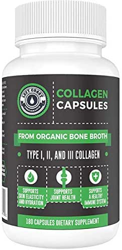 Organic Collagen Pills Supplement - 180 Count - Organic, Grass Fed Bovine & Organic Chicken Bone Broth. Collagen Types 1,2,3. Supports Nails, Hair, Joints, Skin & Gut Health. Left Coast Performance