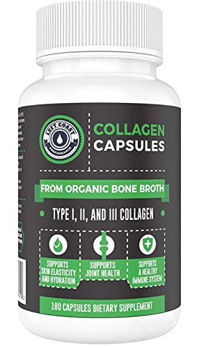 (Organic Collagen Pills Supplement - 180 Count - Organic, Grass Fed Bovine & Organic Chicken Bone Broth. Collagen Types 1,2,3. Supports Nails, Hair, Joints, Skin & Gut Health. Left Coast Performance )
