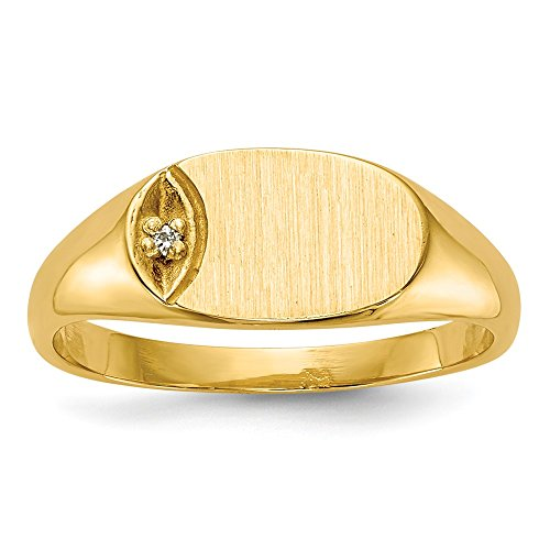 Price comparison product image 14k Yellow Gold Engravable Child's H-I SI2 Diamond Signet Ring