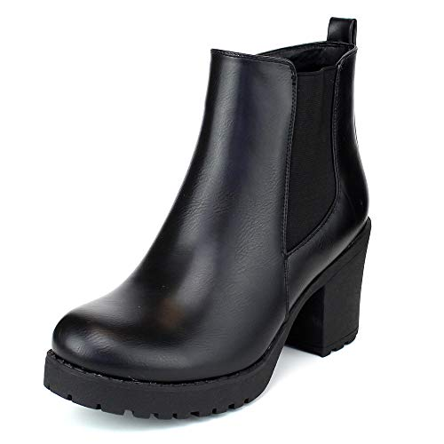 Women's Block Chunky Heel Ankle Booties Slip on Platform Boots Zipper up High Heel Chelsea Boots Black 9 Ankle Boot Bootie Platform