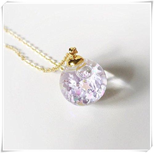 Dandelion White Star Crystal Glass Ball Necklace, Water Inside, Orb Pendant Prism Charm Snow flakes,Bling, Gold,Diamond, Terrarium ()